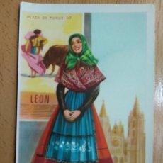 Cartoline: TARJETA POSTAL TRAJE TIPICO PLAZA DE TOROS LEON ILUSTRADOR J. BRIONES. Lote 259298305