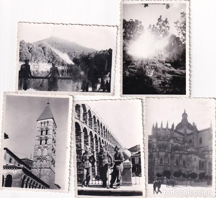 LOTE DE 5 FOTOGRAFÍAS DE MILITARES DEL CAMPAMENTO DE LA GRANJA DE VISITA EN SEGOVÍA. 6 X 8 CM (Postales - España - Castilla y León Antigua (hasta 1939))