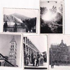 Postais: LOTE DE 5 FOTOGRAFÍAS DE MILITARES DEL CAMPAMENTO DE LA GRANJA DE VISITA EN SEGOVÍA. 6 X 8 CM. Lote 259312240