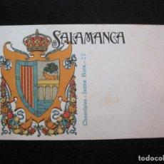 Postales: SALAMANCA-ESCUDO-DIBUJO TRIADO-CHOCOLATES JAIME BOIX-REVERSO SIN DIVIDIR-POSTAL ANTIGUA-(80.403). Lote 262285655