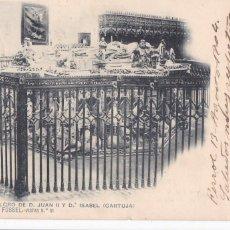 Postais: BURGOS CARTUJA SEPULCROS. ED. ROMO Y FÜSSEL Nº 51. REVERSO SIN DIVIDIR. CIRCULADA EN 1904. Lote 267104134