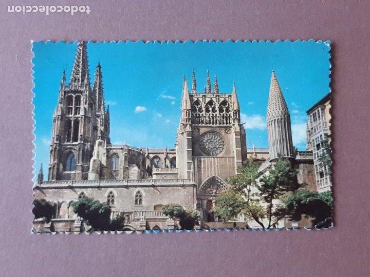 POSTAL 2 FOTOCOLOR. FACHADA SUR. CATEDRAL. BURGOS. CIRCULADA 1958. TROQUELADA. (Postales - España - Castilla y León Moderna (desde 1940))