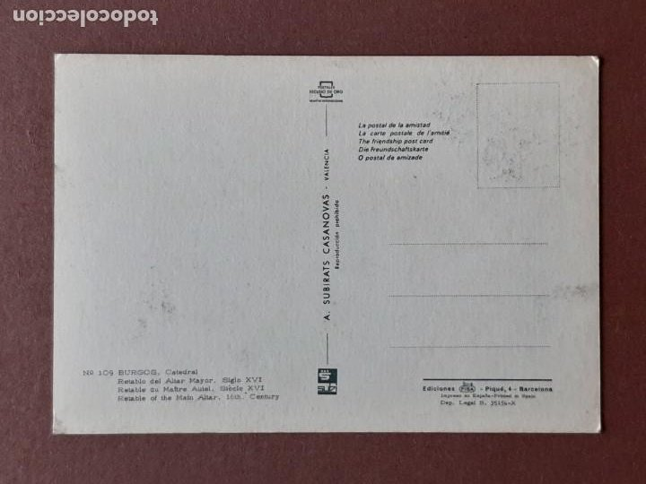 Postales: POSTAL 109 SUBIRATS CASANOVAS. RETABLO DEL ALTAR MAYOR. CATEDRAL. BURGOS. 1967. SIN CIRCULAR. - Foto 2 - 278970603