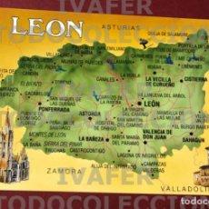 Postales: POSTAL PROVINCIA DE LEON, MAPA Y DIBUJO DE JOSEP OPISSO, EDICIONES REYERO, LEON. Lote 288737603