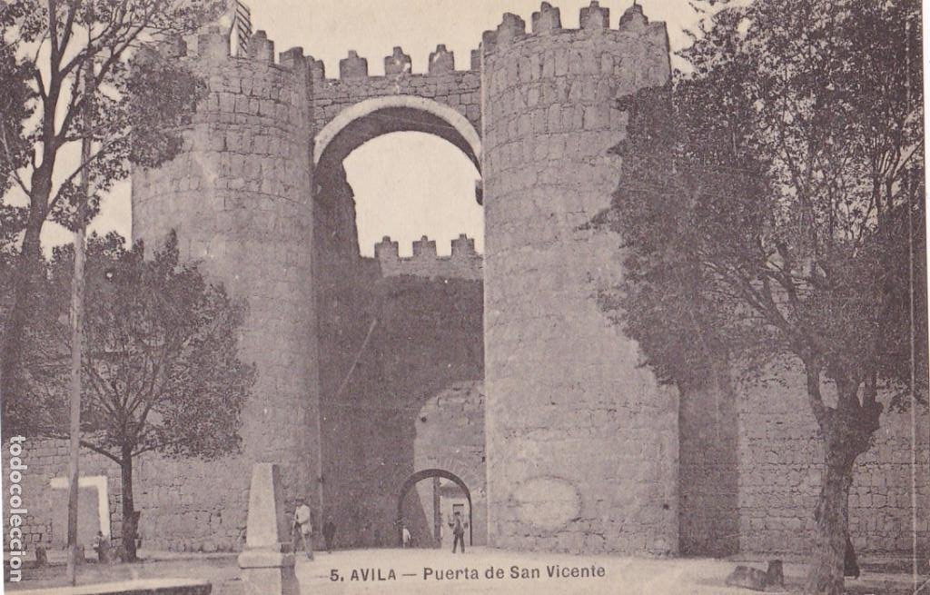 AVILA, PUERTA SAN VICENTE. NO CONSTA EDITOR. SIN CIRCULAR (Postales - España - Castilla y León Antigua (hasta 1939))