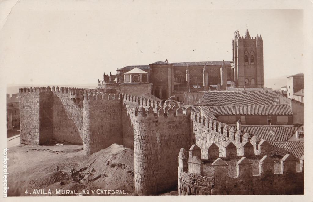 AVILA, MURALLAS Y CATEDRAL. NO CONSTA EDITOR. POSTAL FOTOGRAFICA SIN CIRCULAR (Postales - España - Castilla y León Antigua (hasta 1939))