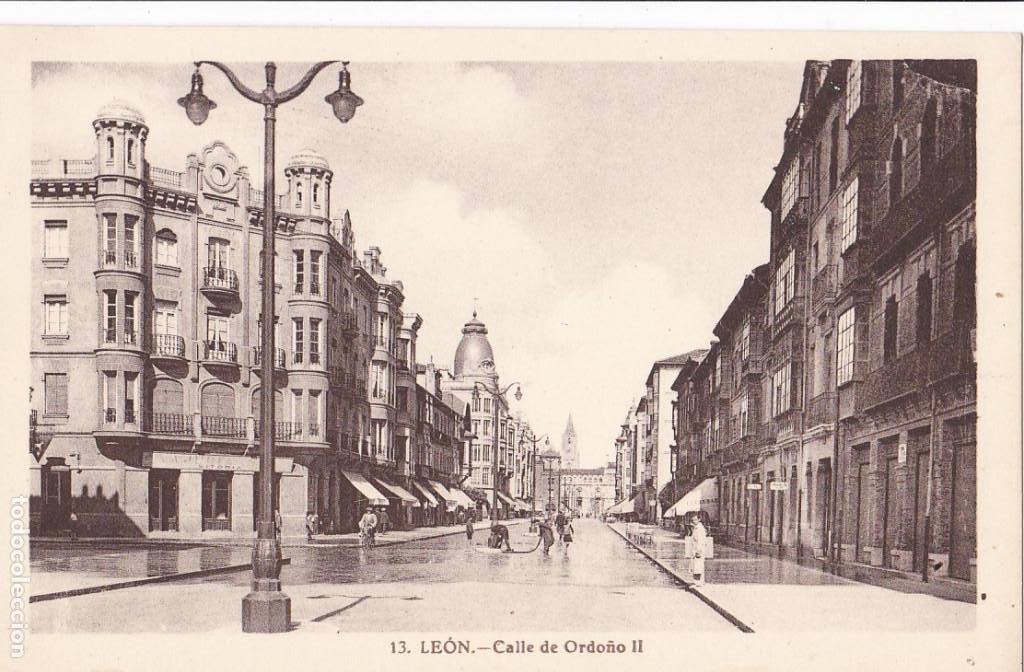 LEON, CALLE ORDOÑO II. NO CONSTA EDITOR. SIN CIRCULAR (Postales - España - Castilla y León Antigua (hasta 1939))