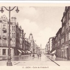 Postales: LEON, CALLE ORDOÑO II. NO CONSTA EDITOR. SIN CIRCULAR. Lote 289343553