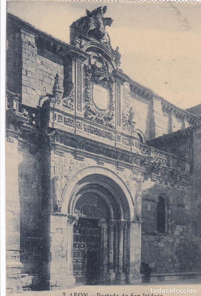LEON, PORTADA SAN ISIDORO. NO CONSTA EDITOR. SIN CIRCULAR (Postales - España - Castilla y León Antigua (hasta 1939))