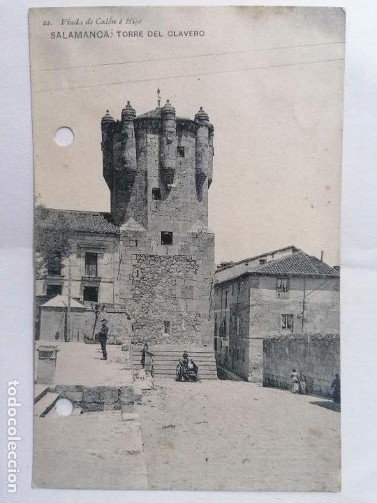 POSTAL SALAMANCA, TORRE DEL CLAVERO, AÑO 1914, CIRCULADA, VIUDA DEL CALON E HIJOS (Postales - España - Castilla y León Antigua (hasta 1939))