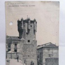 Postales: POSTAL SALAMANCA, TORRE DEL CLAVERO, AÑO 1914, CIRCULADA, VIUDA DEL CALON E HIJOS. Lote 289664083