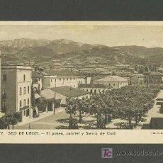 Postales: POSTAL DE LA SEU D' URGELL (LLEIDA): EL PASSEIG, CASERNA I SERRA DEL CADÍ (CLAVEROL NUM.77). Lote 3800673