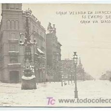 Postales: BARCELONA. GRAN NEVADA 15 ENERO 1914. GRAN VIA DIAGONAL. AJIV. CIRCULADA EN 1914. POSTAL FOTOGRAFICA. Lote 11811939