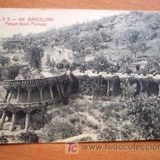 Postales: BARCELONA PARQUE GÜELL, PÓRTICOS - A.T.V. 109 - FECHADA MANUSCRITA AÑO 1907. Lote 27493738
