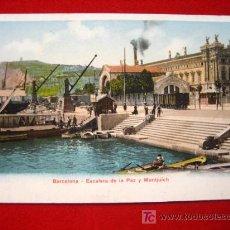 Postales: BARCELONA, ESCALERA DE LA PAZ Y MONTJUICH, TARJETA POSTAL SIN DIVIDIR TP5306 . Lote 4790720