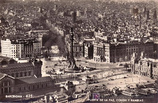 BARCELONA.PUERTA DE LA PAZ,COLON Y RAMBLAS.CIRCULADA VER FOTO ADICIONAL. (Postales - España - Cataluña Moderna (desde 1940))