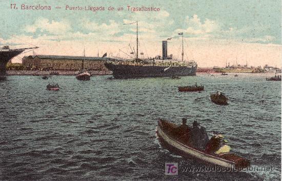 BARCELONA.PUERTO.LLEGADA DE UN TRASATLANTICO.NO CIRCULADA (Postales - España - Cataluña Antigua (hasta 1939))