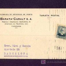 Postales: POSTAL DE TERRASSA (BARCELONA): POSTAL COMERCIAL DE BARATA-CARALT DE 1934 (VEURE FOTO ADICIONAL). Lote 6378726