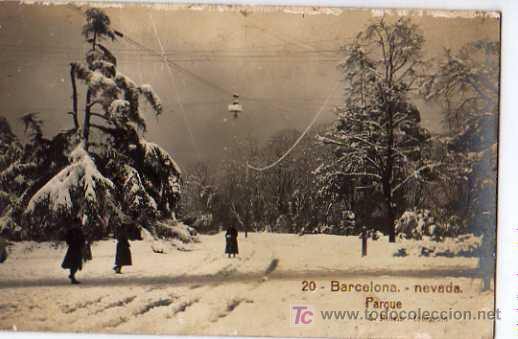 20 BARCELONA, NEVADA PARQUE, L.ROISIN, FOTOGRAFICA (Postales - España - Cataluña Antigua (hasta 1939))