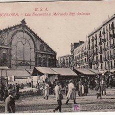 Postales: BARCELONA. LOS ENCANTES Y MERCADO DE SAN ANTONIO.. Lote 19991166