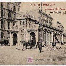 Postales: BARCELONA. APEADERO DEL PASEO DE GRACIA. FOTOTIPIA MADRIGUERA. CIRCULADA 1909. Lote 11228531