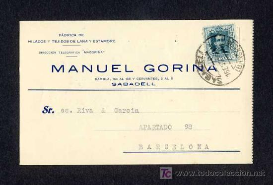 POSTAL DE SABADELL (BARCELONA): TARJETA COMERCIAL DE MANUEL GORINA DE 1932 (VEURE FOTO ADICIONAL) (Postales - España - Cataluña Antigua (hasta 1939))