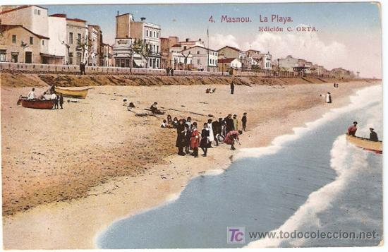 4-MASNOU,BARCELONA-LA PLAYA-EDICION C.ORTA, ROISIN-LITOGRAFICA, ESCRITA-VELL I BELL (Postales - España - Cataluña Moderna (desde 1940))