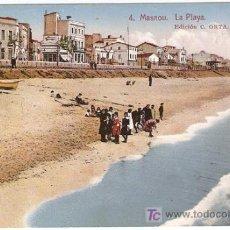 Postales: 4-MASNOU,BARCELONA-LA PLAYA-EDICION C.ORTA, ROISIN-LITOGRAFICA, ESCRITA-VELL I BELL. Lote 25861308