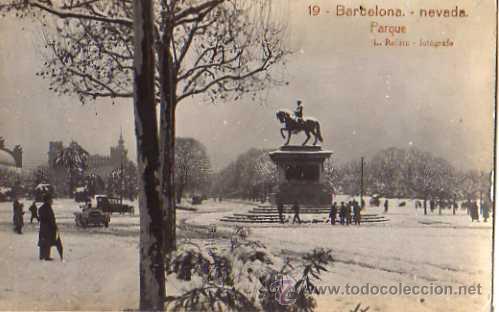 19 BARCELONA - NEVADA PARQUE, L.ROISIN FOTOGRAFO, FOTOGRAFICA (Postales - España - Cataluña Antigua (hasta 1939))