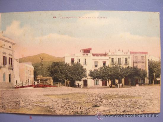 TARJETA POSTAL COLOREADA PRINCIPIO DE SIGLO - CADAQUES -PLASSE DE LAS HERBES - (Postales - España - Cataluña Antigua (hasta 1939))