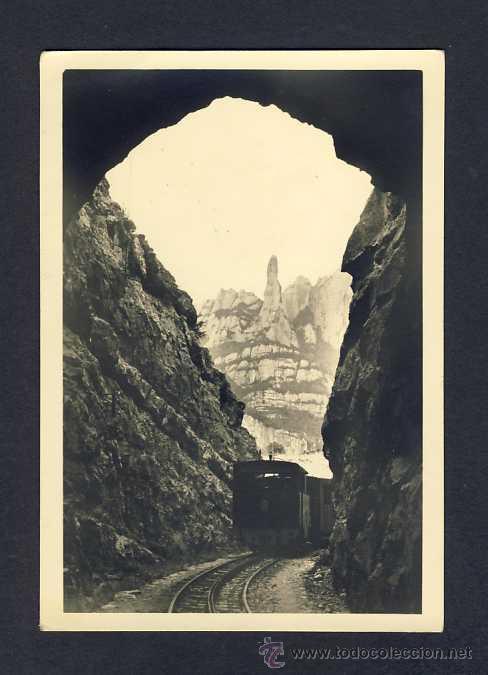 POSTAL DE MONTSERRAT: TUNEL DE L' ANGEL. TREN CREMALLERA (ED.MONESTIR NUM.2) (Postales - España - Cataluña Antigua (hasta 1939))