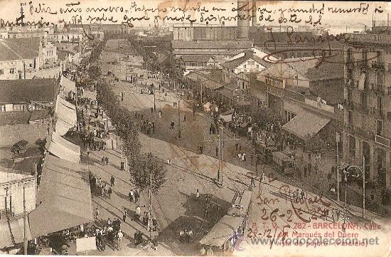 BARCELONA.CALLE DEL MARQUES DEL DUERO A VISTA DE PAJARO.PARALELO (Postales - España - Cataluña Antigua (hasta 1939))