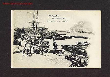 POSTAL DE BARCELONA CAPITAL: EL MOLL VELL (HAUSER Y MENET NUM.56) (ANIMADA) (Postales - España - Cataluña Antigua (hasta 1939))