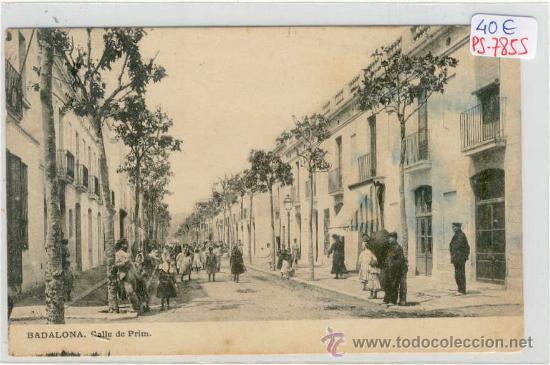 (PS-7855)POSTAL DE BADALONA-CALLE DE PRIM (Postales - España - Cataluña Antigua (hasta 1939))