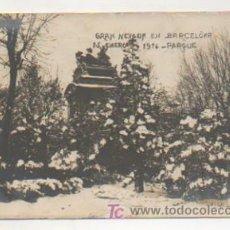 Postales: GRAN NEVADA EN BARCELONA. 15 ENERO 1914. PARQUE. (POSTAL FOTOGRÁFICA. FOT. VILÀ). . Lote 10798340