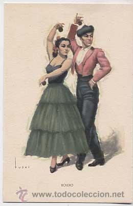 POSTAL: FOLKLORE ESPAÑOL, BAILES ANDALUCES, BOLERO. ED. ARTIGAS, BARCELONA. SIN CIRCULAR (Postales - España - Cataluña Moderna (desde 1940))