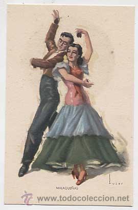 POSTAL: FOLKLORE ESPAÑOL, BAILES ANDALUCES, MALAGUEÑAS. ED. ARTIGAS, BARCELONA. SIN CIRCULAR (Postales - España - Cataluña Moderna (desde 1940))