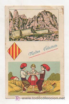 POSTAL ILUSTRADA CATALANISTA. MONTSERRAT. LA SARDANA. (Postales - España - Cataluña Antigua (hasta 1939))