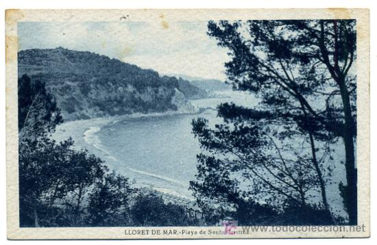 LLORET DE MAR, GERONA, COSTA BRAVA, PLAYA DE SANTA CRISTINA, P25585 (Postales - España - Cataluña Antigua (hasta 1939))