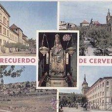 Postales: LLEIDA. RECUERDO DE CERVERA. DIVERSOS ASPECTOS. ED. RAYMOND. CIRCULADA. Lote 12396568