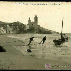 Postales: SITGES : ANDRES FABERT Nº 14 - PLAYA, LLEGADA DE UNA BARCA. FOTOGRAFICA. Lote 25995608