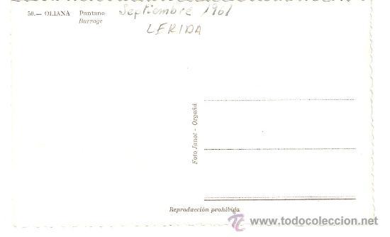 Postales: POSTAL DE OLIANA, Nº 50 PANTANO, FOTO JANOT , VER FOTO ADICIONAL - Foto 2 - 24329194