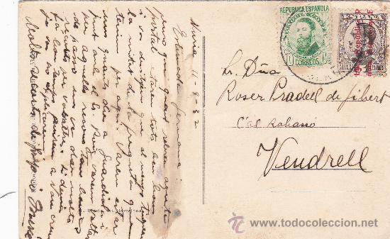 Postales: NURIA (GERONA): VISTA GENERAL I VALL DE FINISTRELLES: 1932 EN TARJETA POSTAL CIRCULADA A VENDRELL. - Foto 2 - 25844992