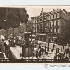 Postales: BARCELONA - TEATRO GRAN LICEO Y RAMBLAS. Lote 13722005
