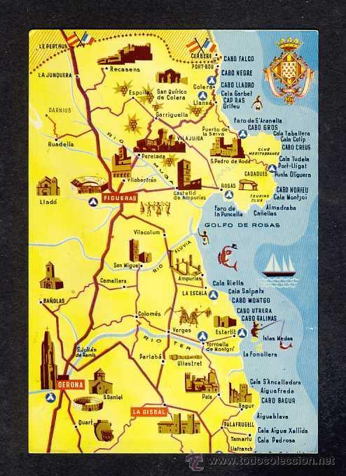 Costa Brava Espana Mapa.Postal De La Costa Brava Girona Mapa Guia F Sold Through Direct Sale 13731938
