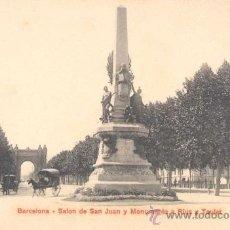 Postales: BARCELONA- SALON DE SAN JUAN Y MONUMENTO A RIUS Y TAULET. Lote 13987144