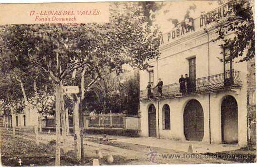 17. LLINAS DEL VALLES. FONDA DOMENECH. NO CIRCULADA (Postales - España - Cataluña Antigua (hasta 1939))