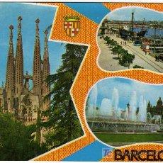 Postales: CURIOSA POSTAL - BARCELONA - VARIAS VISTAS DE LA CIUDAD . Lote 14688421