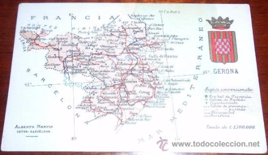 POSTAL MAPA GIRONA - ALBERTO MARTIN (Postales - España - Cataluña Antigua (hasta 1939))