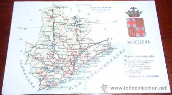 POSTAL MAPA BARCELONA - ALBERTO MARTIN (Postales - España - Cataluña Antigua (hasta 1939))